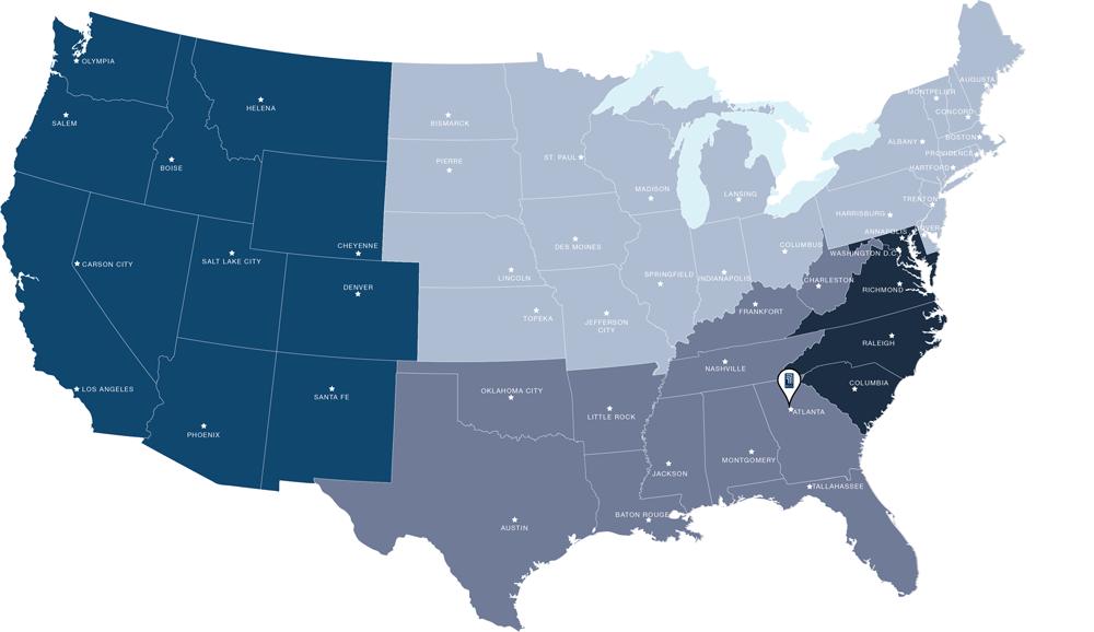 US Map with  RCG Ventures properties